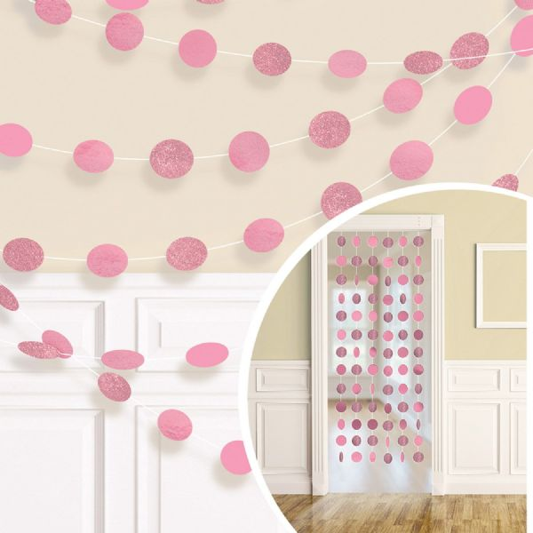 Baby Pink Glitter String Decorations (6)